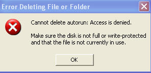error deleting file or folder virus error