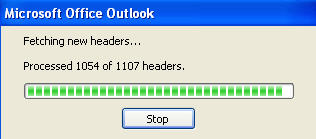 outlook fetching headers from gmail
