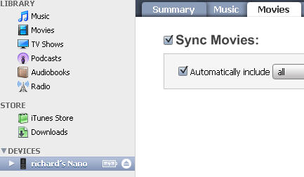 synch DVD ipod movie in itunes